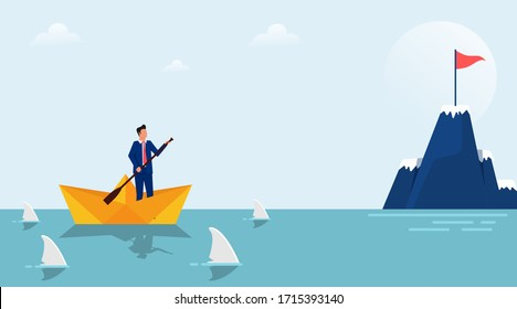 Business target concept design. Businessman character on paper boat surrounded by sharks. Focus on target and process. Flat style vector illustration
