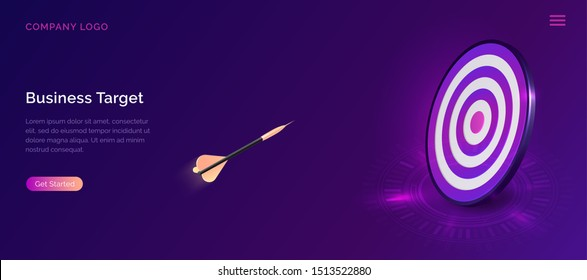 Business target isometric concept vector illustration. Round dart board with flying arrow. Symbolic goals achievement, success and competitors victory on ultraviolet webpage background