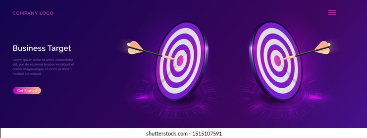 Business target isometric concept vector illustration. Two round dart board with arrow flying to bullseye. Symbolic goals achievement, success and competitors victory on ultraviolet webpage background