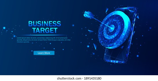 Business target isometric concept vector illustration. Abstract vector in futuristic polygonal style with wireframe, lowpoly triangles on a blue background with stars.