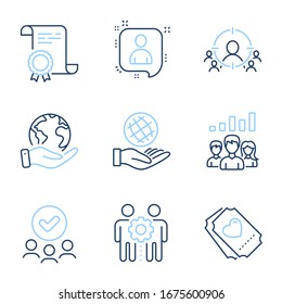 Business targeting, Employees teamwork and Safe planet line icons set. Diploma certificate, save planet, group of people. Developers chat, Teamwork results and Love ticket signs. Vector