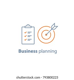 Business targeting, simple solution, successful strategy, project management, improvement checklist, survey clipboard, enrollment concept, opinion poll, terms and conditions, vector thin line icon