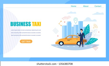 Business Taxi Landing Page. Man with Case and Smartphone Waiting for Car Order on Street Road. Yellow Businessman Class Cab in Location. Modern City Urban Skyline. Modern Horizontal Banner.