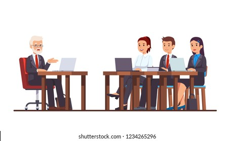 Business teacher coaching group of businessman and businesswoman class. Coach speaking to business students sitting at school desks with laptops. Flat style cartoon vector isolated illustration