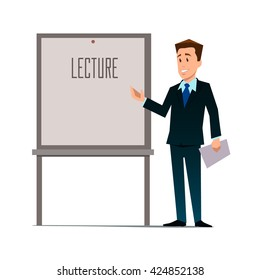 business teacher, man giving a lecture or presentation, front view of whiteboard with documents in hands, modern flat style, cartoon character, vector illustration