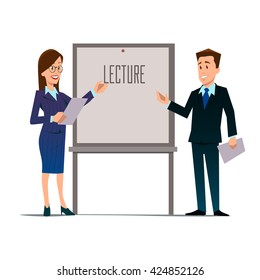 business teachers, woman and man giving a lecture or presentation, front view of whiteboard with documents in hands, modern flat style, cartoon character, vector illustration