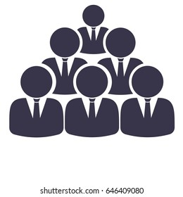 Business team 6 people flat vector icon
