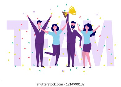 Business team achievements, Team victory, Win concept with characters. People holds a cup and celebrates success.