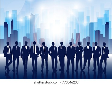 Business team against the background of the abstract megalopolis