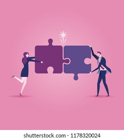 Business team assembling jigsaw puzzle. Business concept vector