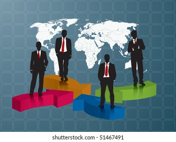 business team blue background