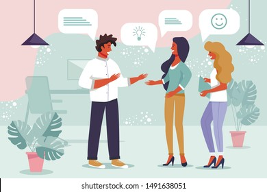 Business Team Brainstorming, Exchanging Thoughts. Staff Meeting for Consulting and Training. Man and Women Sharing Ideas with Positive Emotions. Office Communication. Vector Flat Cartoon Illustration