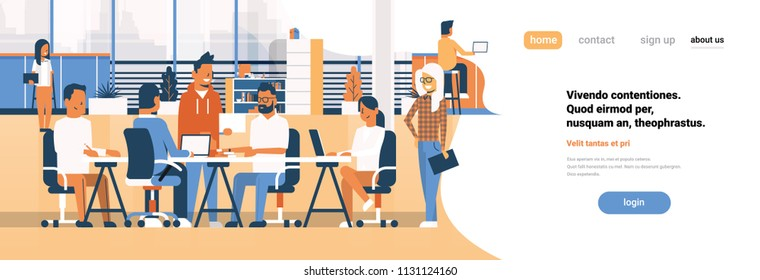 Business team brainstorming meeting group businesspeople sitting together office discussing flat banner copy space vector illustration