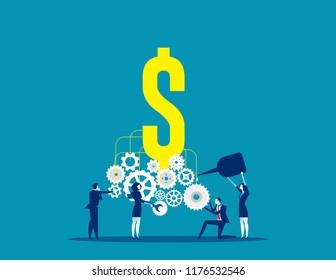 Business team building a money machine. Concept business vector, Machine, Gear,  Teamwork.