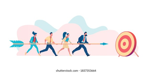 Business team carries huge arrow to goal. Metaphor for common cause. Leader leads team towards common goal concept. Flat vector illustration