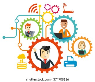 Business team. Cartoon characters. Vector