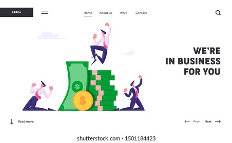 Business Team Celebrate Victory and Wealth Website Landing Page. Happy Businessmen Stand at Huge Heap of Money Crying Yeah. Best Employees Great Result Web Page Banner. Flat Vector Illustration