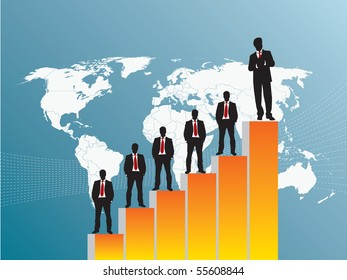 business team chart earning and blue background