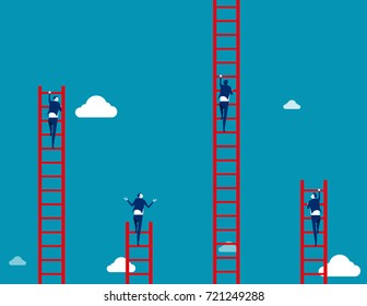 Business team climbs to the ladder. Concept business vector illustration.