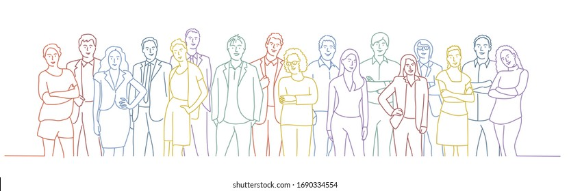 Business team. Colour line drawing vector illustration.