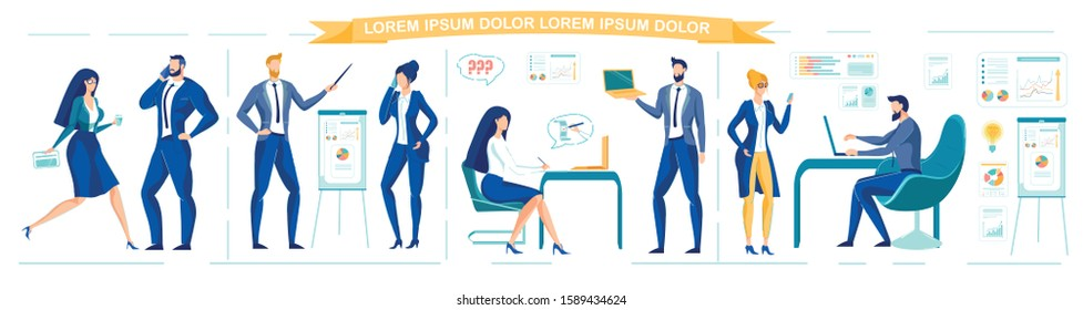 Business Team or Company Staff - Managers, Superiors and Ordinary Employees Working in Office. Business Activity and Entrepreneurship with People Cartoon Characters. Flat Vector Illustrations Set.