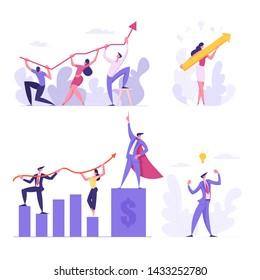 Business Team Concept. Businesspeople Hold Financial Arrow Graph. Data Analysis, Goal Achievement, Investment Management. Competition, Goal Achievement, Creative Idea Cartoon Flat Vector Illustration