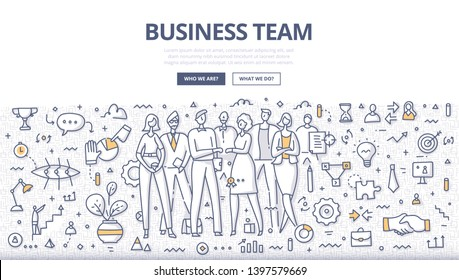 Business team concept. Group of businesspeople in casual wear standing in office environment. Successful teamwork. Doodle illustration for web banners, hero images, printed materials