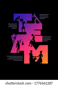 Business team concept poster design template. Working silhouette people using laptops, shaking hands, looking future, climbing and holding box in the colorful 'TEAM' word. Vector illustration.