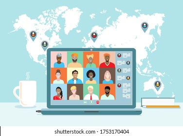 Business team conference video call, studying online, telecommuting, remote work, business communication. Diverse colleagues, international students meeting, virtual office, world map. Vector banner.