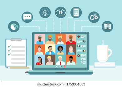 Business team conference video call, studying online, telecommuting, remote work,project communication, data sharing. Diverse colleagues, international students meeting, virtual office. Vector banner.