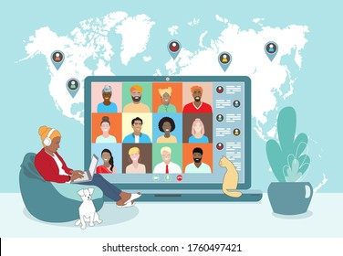 Business team conference video call, studying online, telecommuting, young woman remotely works from home, business communication. Diverse colleagues, international students, world map. Vector banner.