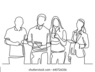 business team - continuous line drawing