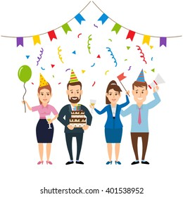 business team corporate happy birthday party concept illustration isolated on white background