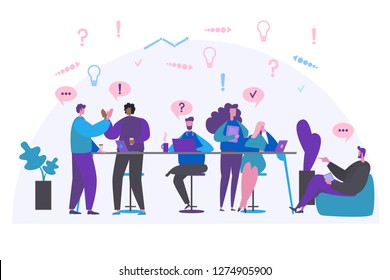 Business team creative discussion vector illustration. Colaboration work process people
