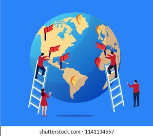 Business team deploys global strategic plan