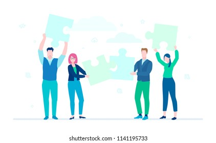 Business team doing a puzzle - flat design style colorful illustration on white background, blue color. A composition with cute characters, office workers putting pieces together. Teamwork concept