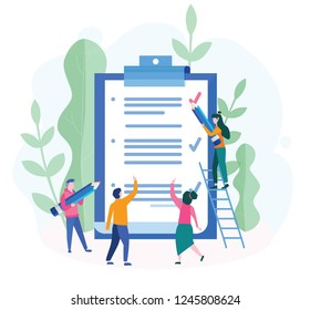 Business Team fill out  checklist on a clipboard paper. Big pencil, mission completed concept for web page, banner, presentation, social media, documents, cards, posters. Vector illustration, teamwork
