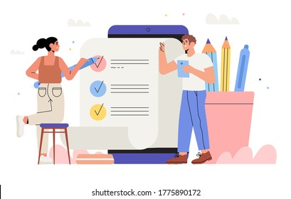 Business Team fill out checklist in mobile application. To do list, teamwork, successeful work planning, mission completed concept for web or landing page, ui, banner, presentation, social media.