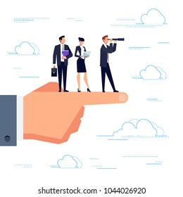 Business team in a flat style are looking for new business ideas. Leadership with the telescope in his hands looks forward. Template design banner. Vector illustration.