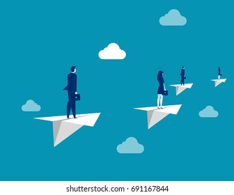 Business team flying with paper plane. Concept business vector illustration.