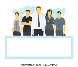 Business team and frame place for text. Company business group people office clerks. With his leader boss. Template flat color vector illustration.