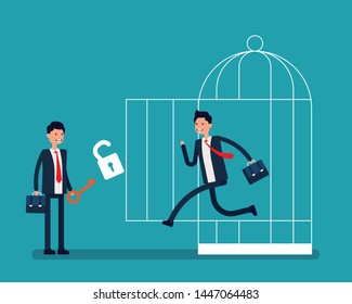 Business team and freedom from a cage. Vector illustration freedom business concept, Successful, Achievement, Flat cartoon characters design.
