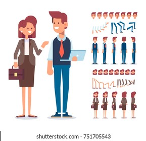 Business team. Front, side, back, 3/4 view characters for animation. Business Man and Woman constructor with various views, face emotions, poses . Cartoon style, flat vector illustration.