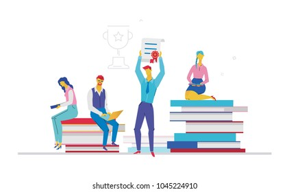 Business team getting a certificate - flat design style colorful illustration on white background. Metaphorical composition with office workers or businessmen holding a diploma. Linear cup behind