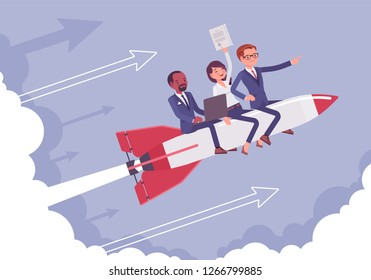 Business team go high to success on a rocket. Leaders moving company to the top, profitable strategy developing in right direction. Business motivation concept. Vector flat style cartoon illustration