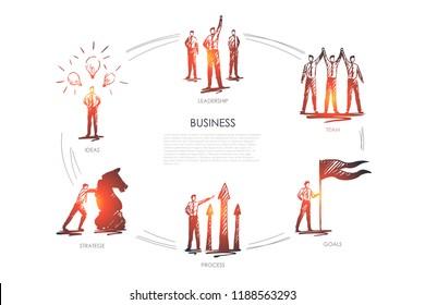 Business, team, goals, stratege, ideas, leadership concept vector set