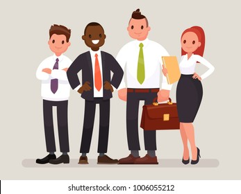 Business team. A group of office workers headed by a chief. Vector illustration in a flat style