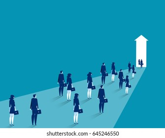 Business team group walking. Business to success vector illustration.