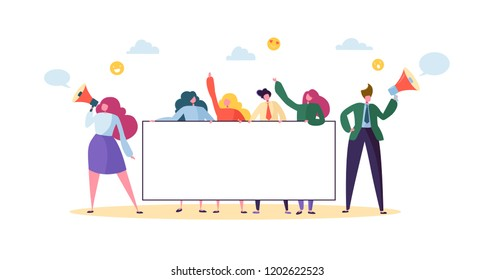 Business Team Holding Horizontal Empty Banner. Happy People with Blank Billboard. Teamwork Advertising Concept Presentation, Announcement. Vector illustration