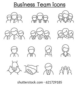 Business team icon set in thin line style